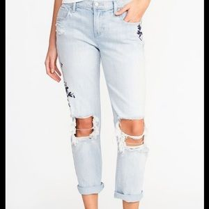 Old navy boyfriend straight droit jeans embroidery